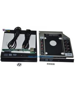SATA DVD Drive External USB Case Enclosure + HD HDD SSD Adapter Kit Caddy 12.7mm